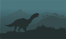 Iguanodon恐龙剪影 库存图片