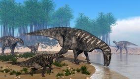 Iguanodon dinosaurs herd at the shoreline - 3D Royalty Free Stock Image