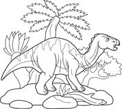Iguanodon, wandering in search of pastures. Giant Iguanodon, wandering in search of pastures Royalty Free Stock Photos