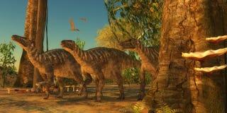 Iguanodons na floresta Fotos de Stock Royalty Free