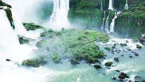 Iguassu Falls, the largest series of waterfalls of the world, located at the Brazilian and Argentinian border stock footage
