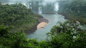 Iguassu Falls, the largest series of waterfalls of the world, located at the Brazilian and Argentinian border stock video footage