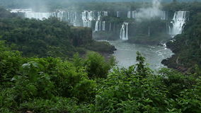 Iguassu Falls, the largest series of waterfalls of the world, located at the Brazilian and Argentinian border stock video