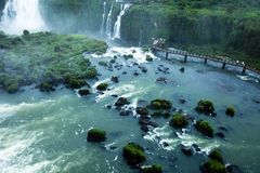 Iguassu Falls, the largest series of waterfalls of the world, located at the Brazilian and Argentinian border, View from Brazilian Stock Photography