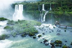 Iguassu Falls, the largest series of waterfalls of the world, located at the Brazilian and Argentinian border, View from Brazilian Royalty Free Stock Image