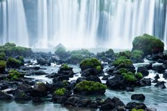Iguassu Falls, the largest series of waterfalls of the world, located at the Brazilian and Argentinian border, View from Brazilian Royalty Free Stock Images