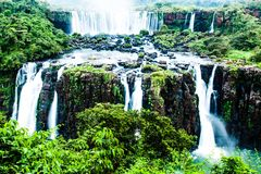 Iguassu Falls, the largest series of waterfalls of the world, view from Brazilian side Royalty Free Stock Photography