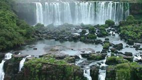 Iguassu Falls, the largest series of waterfalls of the world, view from Brazilian side. stock footage
