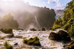 Iguassu Falls at sunset Stock Photo