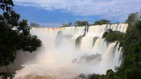 Iguassu falls video. View of worldwide known Iguassu falls at the border of Brazil and Argentina stock video