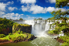 Iguassu Falls, view from Argentinian side. Iguassu Falls, the largest series of waterfalls of the world, located at the Brazilian and Argentinian border, View