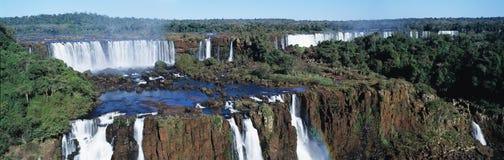 Iguasu falls. Panoramic view on famose Igusu waterfall on Argentina side Stock Photos
