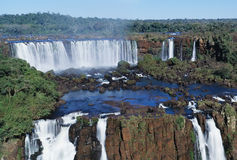 Iguasu falls. Panoramic view on famose Igusu waterfall on Argentina side Royalty Free Stock Images