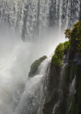 Iguasu Falls, Argentina Brazil. MCU - Verdant tropical growth almost lost in the spray from the Iguasu Falls Stock Images