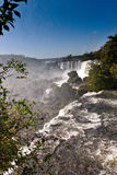 Iguasu Falls. Shot from the edge of the Argentinian side this wide shot encompasses much of the sweep of these most spectacular of all waterfalls Stock Photography