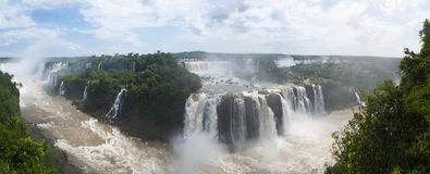 Iguazu, Iguazu Falls, waterfall, Garganta del Diablo, Devil's Throat, Argentina, South America. Iguazu, 13/11/2010: the rainforest and view of the Royalty Free Stock Photos