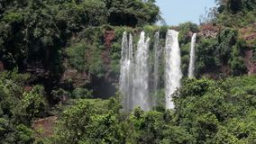 Iguazu beautiful small waterfall in summer stock video footage