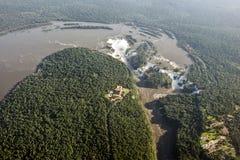 Iguazu Falls,阿根廷,巴西的空中图象 免版税库存照片
