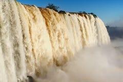 Iguazu Falls. Closeup of Iguazu waterfall with mist at bottom, Brazil and Argentinian border Royalty Free Stock Photography