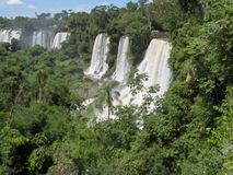 Iguazu falls. Waterfalls at the border of Argentina and Brazil royalty free stock image