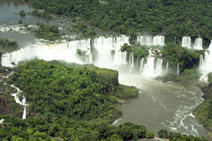 Iguazu Falls. Aerial view of the Iguazu Falls at the border between Brazil and Argentina Stock Images