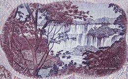 Iguazu Falls on Argentina 10 pesos 1976 closeup macro, largest. Waterfalls system in the world, Argentine money close up Royalty Free Stock Photos