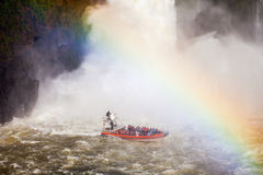 The Iguazu Falls. Boat near the Iguazu Falls (Cataratas del Iguazu), waterfalls of the Iguazu River on the border of the Argentina and the Brazil Royalty Free Stock Photo