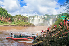 Iguazu falls on the border of Argentina and Brazil Stock Photo
