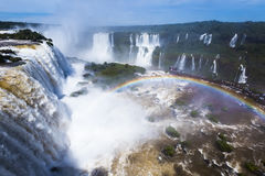 Iguazu Falls in Brazil. General view on the grand Iguazu Waterfalls system in Brazil royalty free stock images