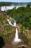 Iguazu Falls in Brazil. General view on the grand Iguazu Waterfalls system in Brazil royalty free stock photography