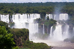 Iguazu Falls in Brazil. General view on the grand Iguazu Waterfalls system in Brazil stock image