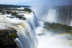 Iguazu Falls in Brazil. General viewing of the impressive Iguazu Falls system in Brazil royalty free stock photography