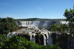 Iguazu Falls - Brazil Side. The Brazilian side of Iguazu Falls on a clear summers day Royalty Free Stock Photos
