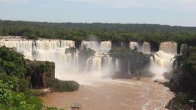 Iguazu Falls Brazil. Iguazu Falls - spectacular waterfalls on Brazil and Argentina border. National park and UNESCO World Heritage Site. Seen from Brazilian side stock video footage