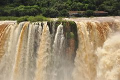 Iguazu falls close vue of amazing water. Argentina Royalty Free Stock Image