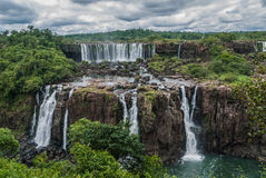 Iguazu falls in a cloudy day. Argentina Royalty Free Stock Images
