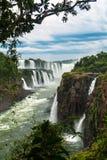 Iguazu falls in a cloudy day. Iguazu falls in Argentina with clouds Royalty Free Stock Photo