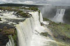 Iguazu falls. The Iguazu falls on a cloudy day from the Brazilian side Royalty Free Stock Photo