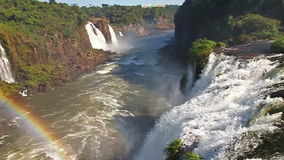 Iguazu Falls. Front view of the Iguazu Falls