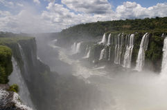 Iguazu Falls and the Gorge Below. Iguazu Falls and the mist-filled valley below - Argentina Stock Photos