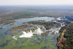 Iguazu falls helicopter view, Argentina Royalty Free Stock Photo
