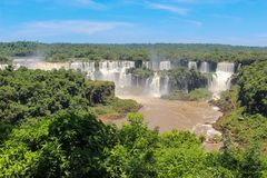 Rainbow at Iguazu Falls viewed from Brazil Stock Photography