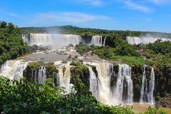 Rainbow at Iguazu Falls viewed from Brazil Royalty Free Stock Image