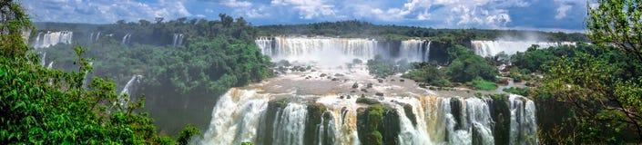 Iguazu falls panorama. Iguazu falls national park. tropical waterfalls and rainforest landscape Royalty Free Stock Photo
