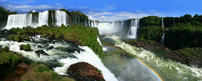 Iguazu Falls panoramic. Panoramic photo of iguazu falls, Argentina, Brazil royalty free stock images