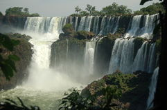 Iguazu Falls Panoramic View. World´s largest Waterfalls Falls in Iguazu on a bright sunny day Royalty Free Stock Image