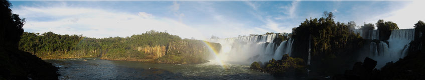 Iguazu falls. Panoramic view of the Iguazu falls in the Argentinian side of the park Royalty Free Stock Photo