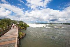 Iguazu Falls platform. Iguazu Falls as seen from Argentina side Stock Photography