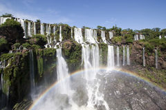 Iguazu Falls Rainbow. Rainbow of Iguazu Falls from San Martin Island Royalty Free Stock Photography