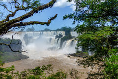 Iguazu Falls view from argentinian side - Brazil and Argentina Border Royalty Free Stock Images
